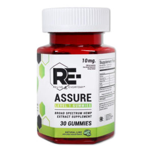 relive everyday re assure cbd vegan gummies 10mg natural lime